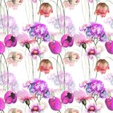 Seamless pattern with Decorative summer flowers. Watercolor illustration Stock Photos