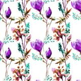 Seamless pattern with Decorative summer flowers. Watercolor illustration Royalty Free Stock Photography