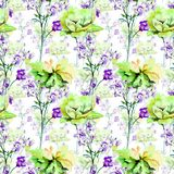 Seamless pattern with Decorative summer flowers. Watercolor illustration. Tile for wallpaper or fabric Royalty Free Stock Photo