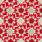 Seamless pattern. Decorative sun. Red background. Royalty Free Stock Photos