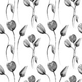 Seamless pattern with decorative Tulips flowers.  watercolour illustration Stock Photography