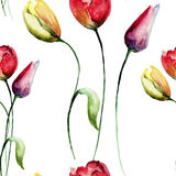 Seamless pattern with decorative Tulips flowers.  watercolour illustration Royalty Free Stock Photo