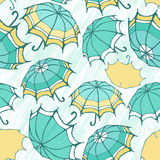 Seamless pattern with decorative umbrellas Royalty Free Stock Images
