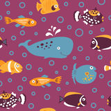 Seamless pattern with decorative white fish Stock Photo