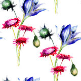 Seamless pattern with decorative wild flowers Royalty Free Stock Image