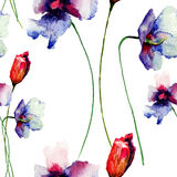 Seamless pattern with decorative wild flowers.  watercolour illustration Stock Photography