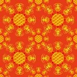 Seamless pattern. Decorative yellow sun. Stock Photo