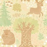 Seamless pattern with deer, bears in the woods. Stock Photo
