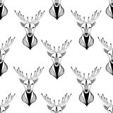 Seamless pattern with deer in black and white colors. Vector hipster illustration. Stock Photography