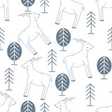 Seamless Pattern with Deer and Forest Royalty Free Stock Images