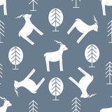 Seamless Pattern with Deer and Forest Royalty Free Stock Image