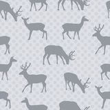 Seamless pattern with deer in gray vector Royalty Free Stock Photo