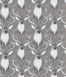 Seamless pattern with deer heads. Hand drawn Royalty Free Stock Photos