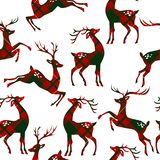 Seamless pattern with deer. Seamless pattern with deer on plaid background. Vector illustration vector illustration