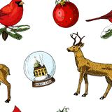 Seamless pattern deer and snow globe, red cardinal, birds. Merry Christmas or xmas, New Year. winter holiday decoration royalty free illustration