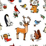 Seamless pattern deer, squirrel and Christmas animals. New Year penguin and bird cardinal or tit in the forest. winter royalty free illustration