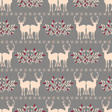 Seamless pattern with deer Stock Photo
