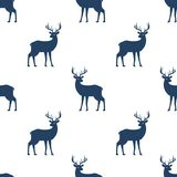 Seamless pattern with deer on white background. Stock Image