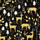 Seamless pattern with deer in winter forest. Deer in winter forest. Seamless pattern with hand drawn design for Christmas and New Year greeting cards, fabric Royalty Free Stock Photos