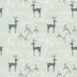 Seamless pattern with deer in winter forest Stock Image