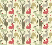 seamless pattern with deers and birds Stock Photos