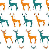 Seamless Pattern with deers. Christmas background. Vector texture for gift packaging, invitation card, cover, wallpaper Stock Photo