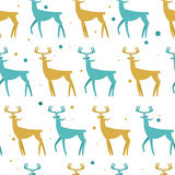 Seamless Pattern with deers. Christmas background. Vector texture for gift packaging, invitation card, cover, wallpaper Royalty Free Stock Image