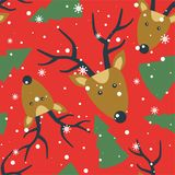 Seamless pattern with deers, fir trees, snow royalty free illustration