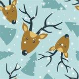 Seamless pattern, deers, fir trees, snow vector illustration