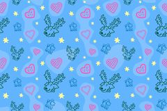 Seamless pattern with deers and hearts Royalty Free Stock Photos