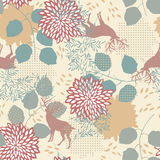 Seamless Pattern with Deers and Leaves Stock Photos