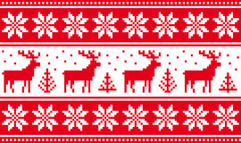 Seamless pattern with deers and nordic stars Royalty Free Stock Image
