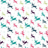 Seamless pattern with deers. And snowflakes. Winter Holiday design. Merry Christmas card design. Hand drawn design for fabric, wrapping paper, greeting cards or stock illustration