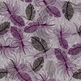 Seamless pattern with delicate feathers Stock Photo