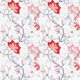 Seamless pattern with delicate intertwining stems and flowers. Stock Image