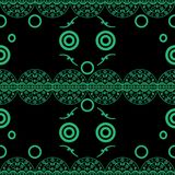 Seamless pattern delicate openwork circles green on black stock illustration