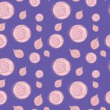 Seamless pattern with delicate roses on a dark blue background. stock image