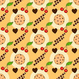 Seamless pattern with delicious chocolate chip cookies. Biscuits, wafer sticks and cherry. Stock Photo