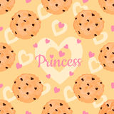 Seamless pattern with delicious chocolate chip cookies, pink hearts for Princess. Royalty Free Stock Photography
