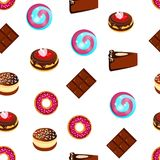 Seamless pattern, Delicious sweets, cakes and chocolate, cartoon Royalty Free Stock Image
