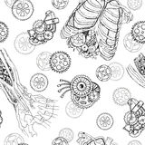 Seamless pattern with demon hands, chest, ribs and parts of old mechanisms. Seamless pattern with robot hand, chest, ribs and old mechanisms.  Hand drawn Stock Photography