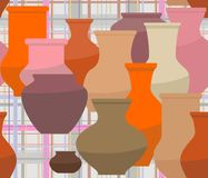 Seamless pattern that depicts a variety of ceramic vases. On a checkered tablecloth background vector illustration
