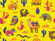 Seamless pattern with desert animals Stock Images