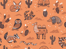 Seamless pattern with desert animals Stock Photography
