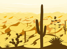 Seamless pattern with desert landscape and cacti silhouettes in vector Royalty Free Stock Photo