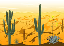 Seamless pattern with desert landscape and cacti silhouettes in vector Stock Photo