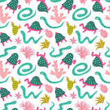 Seamless pattern of desert plants, turtles and boas. Vector stylish design for fabric. Royalty Free Stock Image