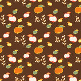 Seamless Pattern for Design. Apples. Seamless floral pattern on brown background. Red, yellow, white, green apples Royalty Free Stock Photos