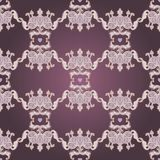 Seamless pattern design with crowns and hearts in medieval style Stock Photography