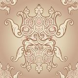 Seamless pattern design with crowns and hearts in medieval style. Ornate Royal repetition background. Wrapping paper, wallpapers. Vector illustration. Detailed Royalty Free Stock Photos